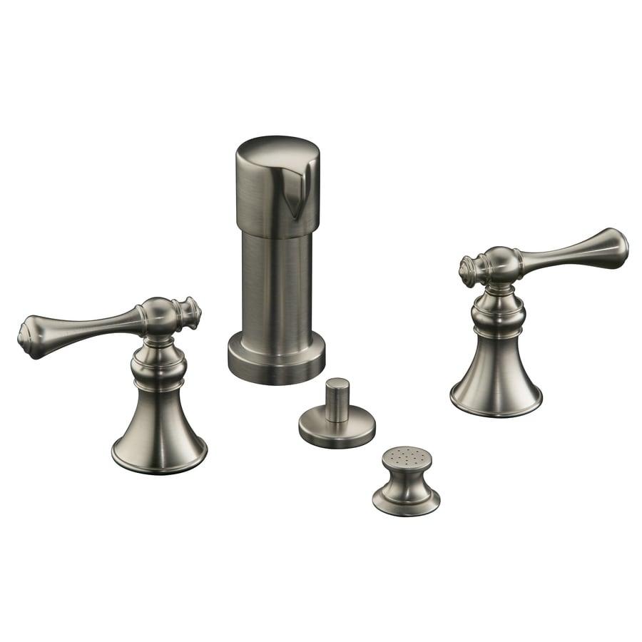 Shop kohler revival vibrant brushed nickel vertical spray bidet faucet at for Kohler revival bathroom faucet