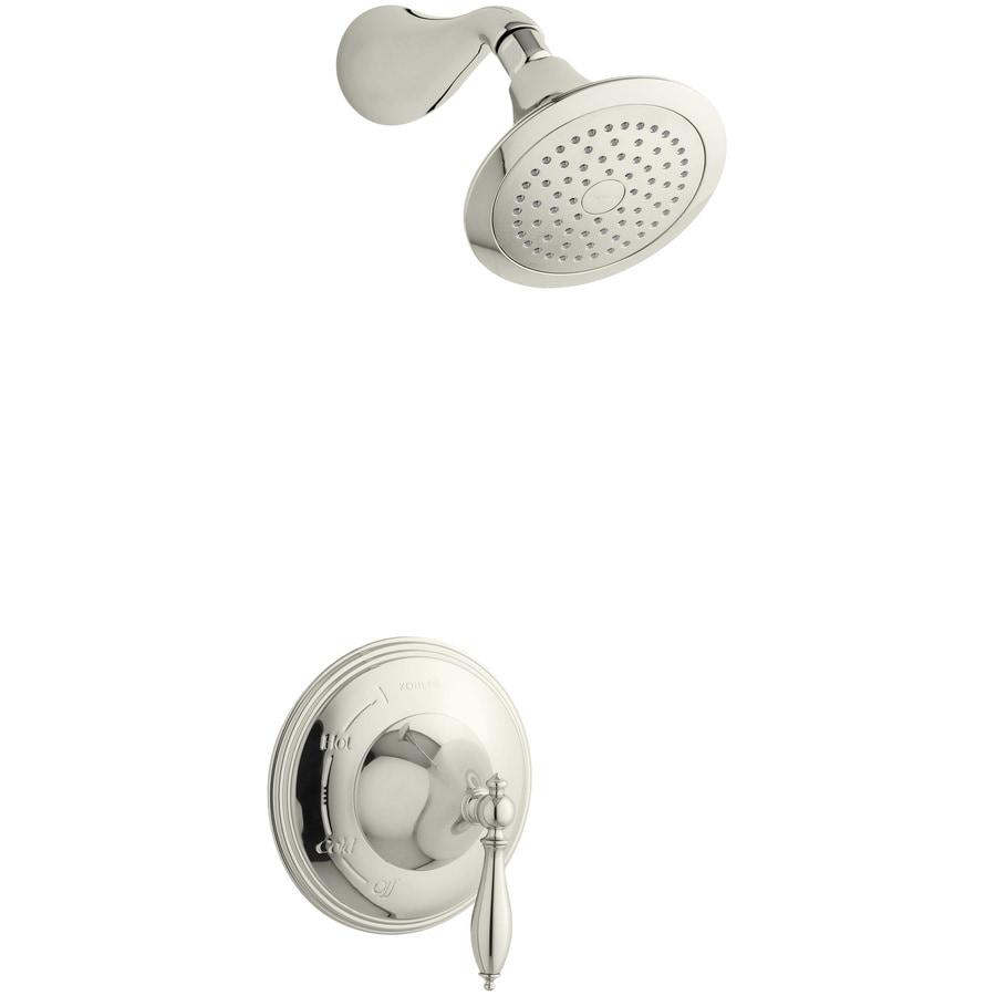 KOHLER Finial Vibrant Polished Nickel 1-Handle Shower Faucet Trim Kit with Single Function Showerhead
