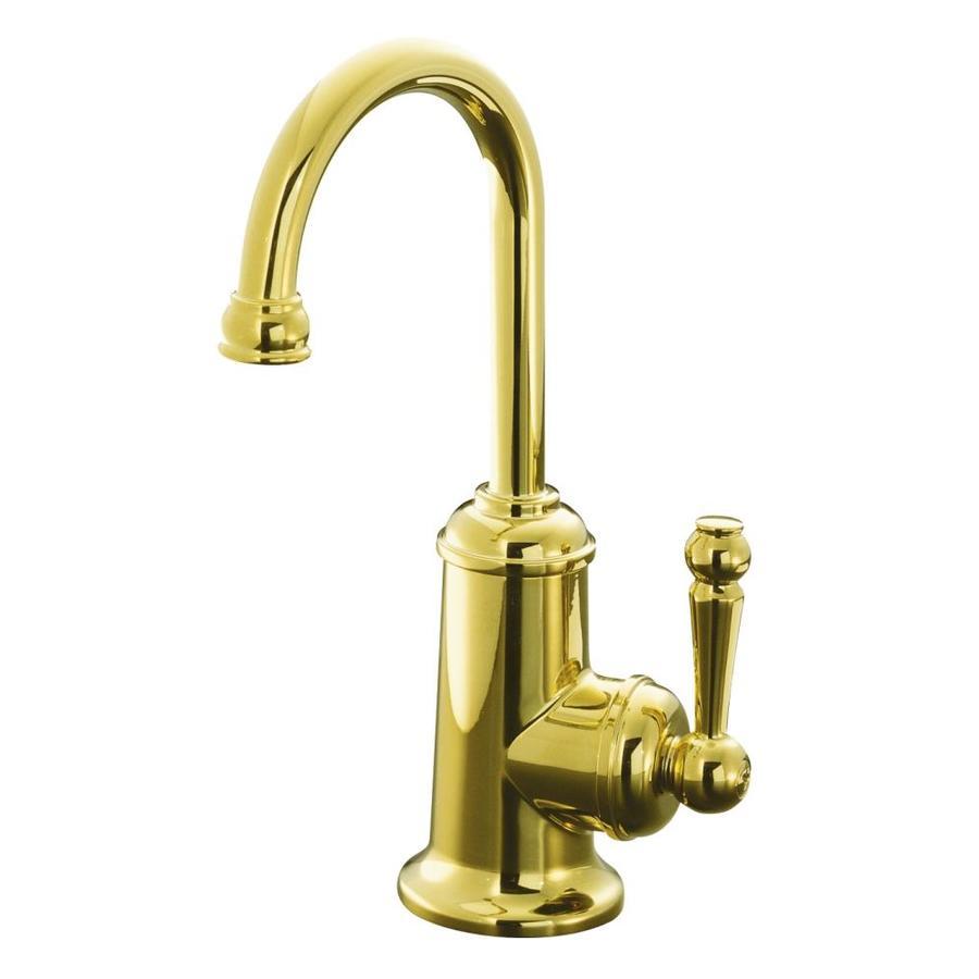 KOHLER Wellspring Vibrant Polished Brass 1-Handle High-Arc Kitchen Faucet
