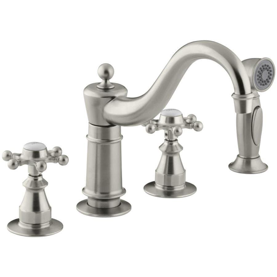 KOHLER Antique Vibrant Brushed Nickel 2-Handle Low-Arc Kitchen Faucet with Side Spray