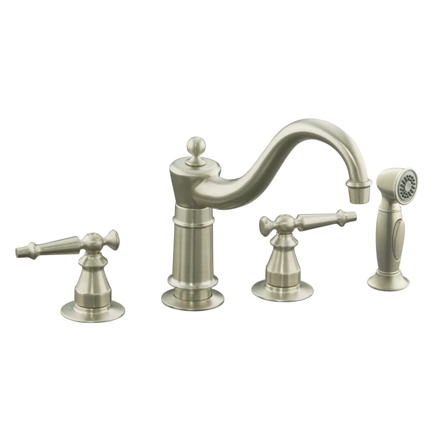 KOHLER Antique Vibrant Brushed Nickel 2-Handle Low-Arc Kitchen Faucet with Side Spray