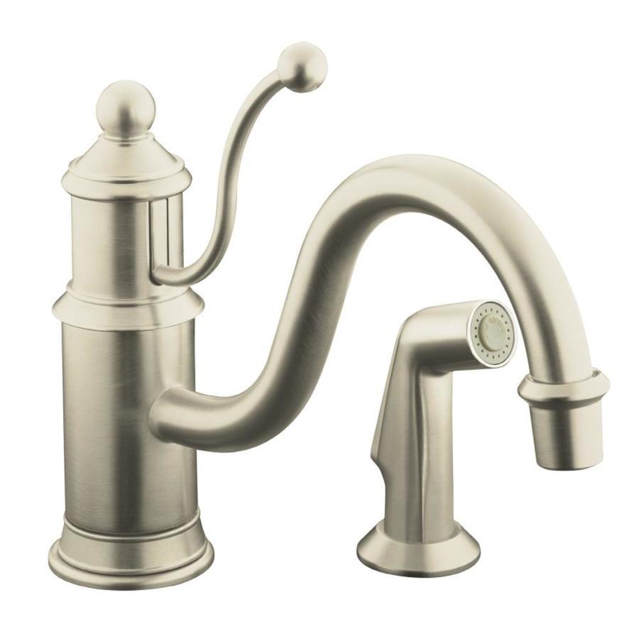 KOHLER Antique Vibrant Brushed Nickel 1-Handle Low-Arc Kitchen Faucet with Side Spray