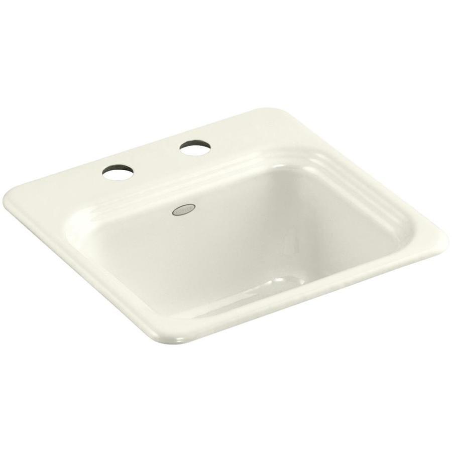 KOHLER Northland Biscuit Single-Basin 2-Hole Cast Iron Drop-In Commercial Bar Sink
