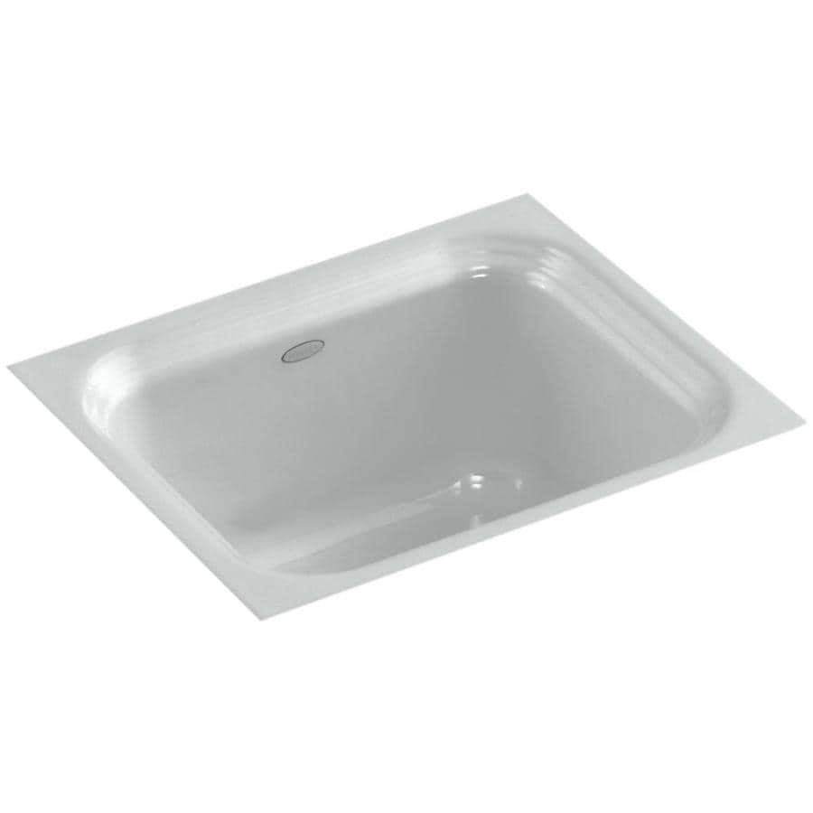 KOHLER Northland Ice Grey Single-Basin Cast Iron Undermount Commercial Bar Sink