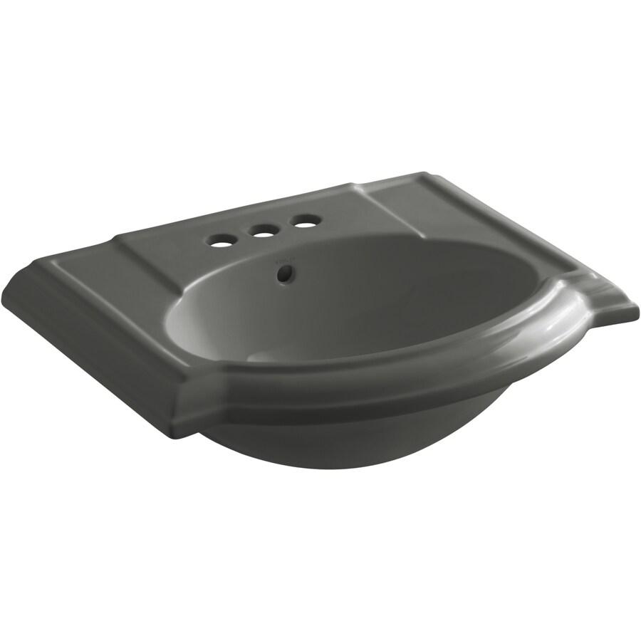 KOHLER 24.13-in L x 19.75-in W Thunder Grey Vitreous China Pedestal Sink Top