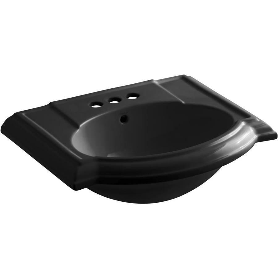 KOHLER 24.13-in L x 19.75-in W Black Vitreous China Pedestal Sink Top