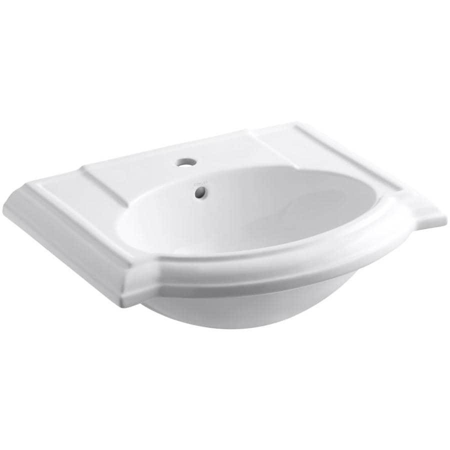 KOHLER Devonshire 24.125-in L x 19.75-in W White Vitreous China Oval Pedestal Sink Top