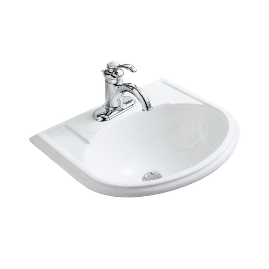 KOHLER Devonshire White Drop-in Oval Bathroom Sink with Overflow