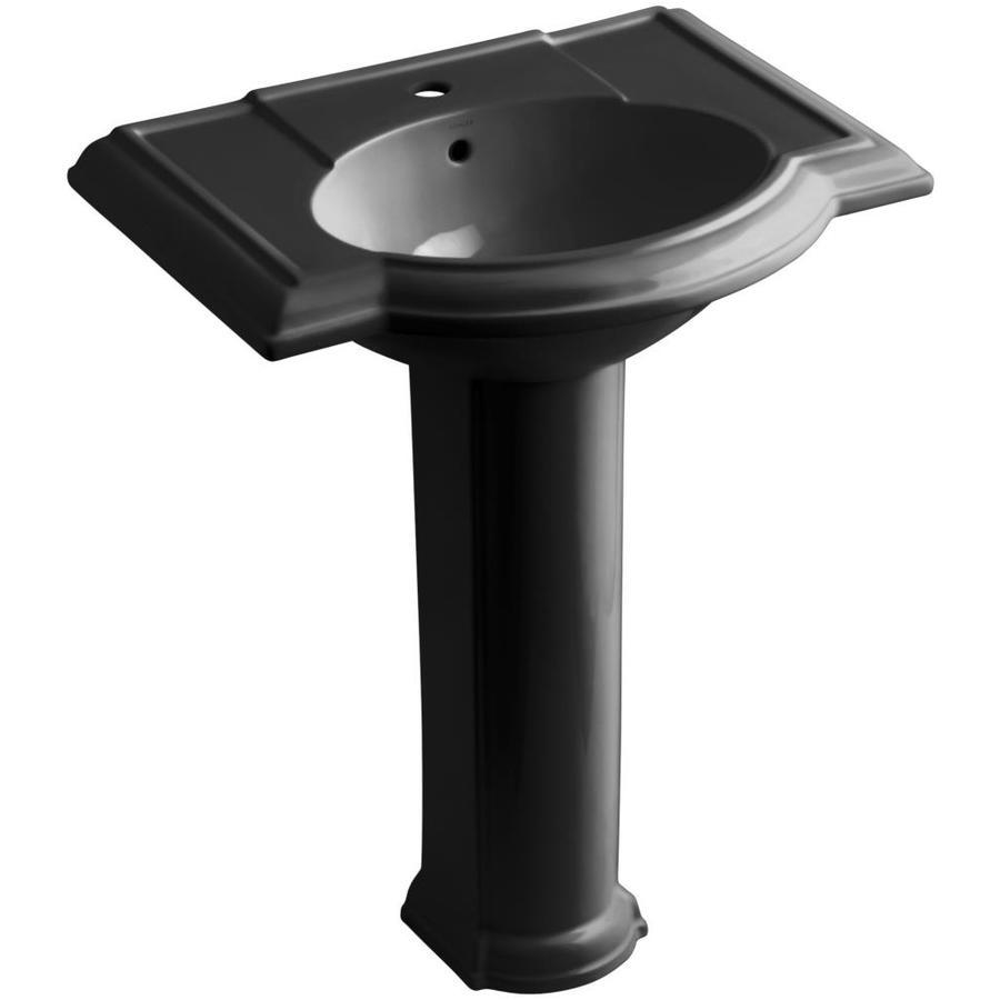 KOHLER Devonshire 33.5-in H Black Black Vitreous China Pedestal Sink