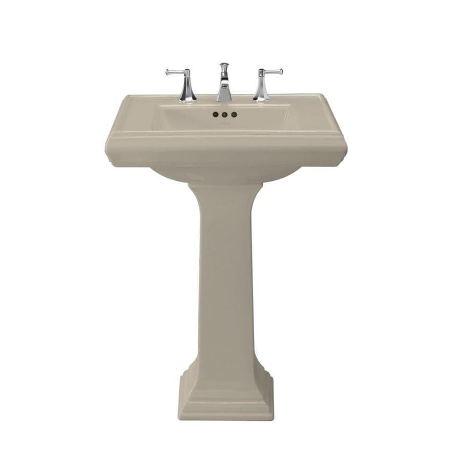 KOHLER Memoirs 35-in H Sandbar Fire Clay Pedestal Sink