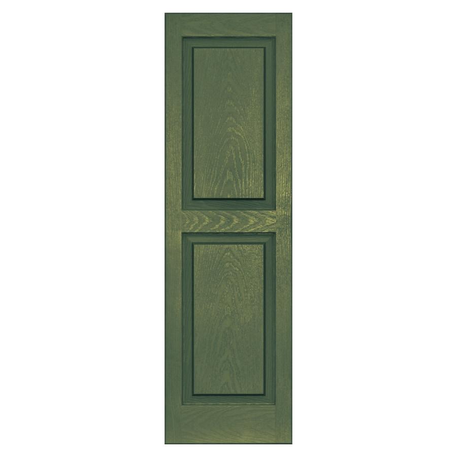 Vantage 2-Pack Moss Raised Panel Vinyl Exterior Shutters (Common: 47-in x 14-in; Actual: 46.625-in x 13.875-in)