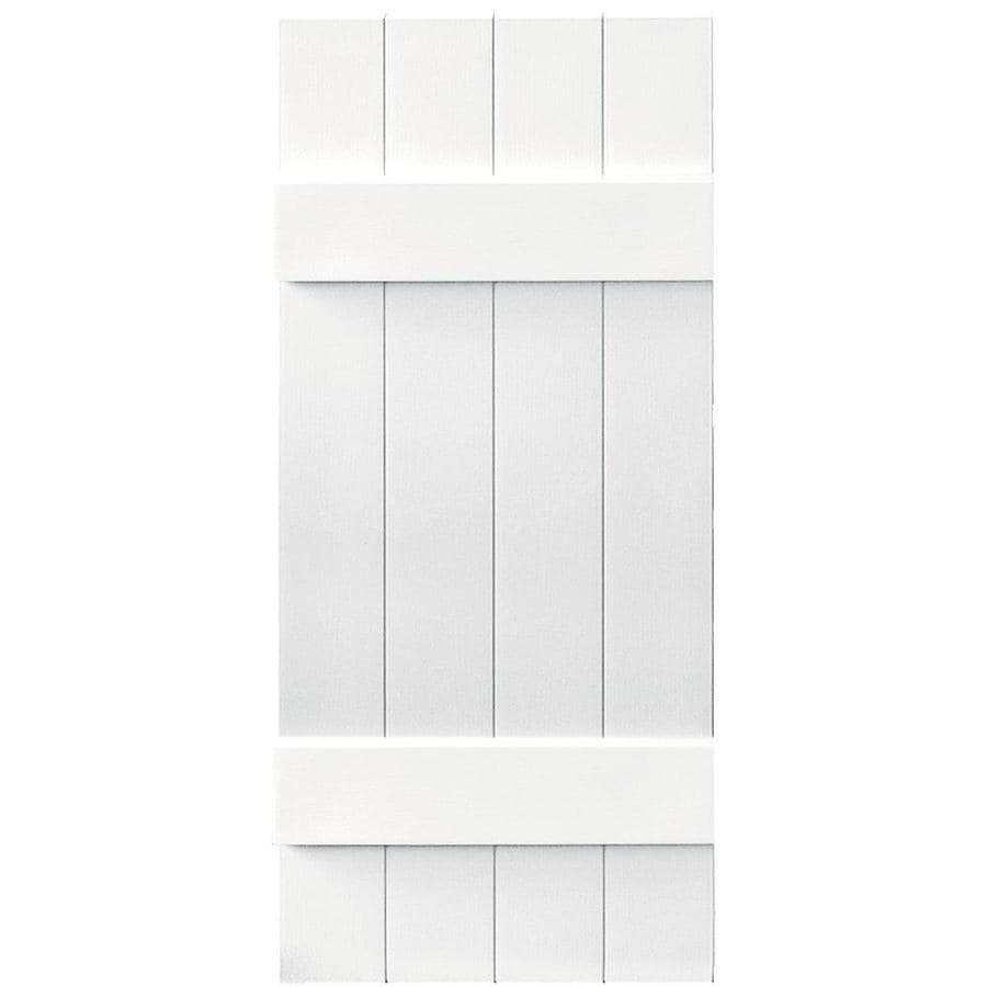 Vantage 2-Pack White Board and Batten Vinyl Exterior Shutters (Common: 14-in x 35-in; Actual: 13.875-in x 34.875-in)