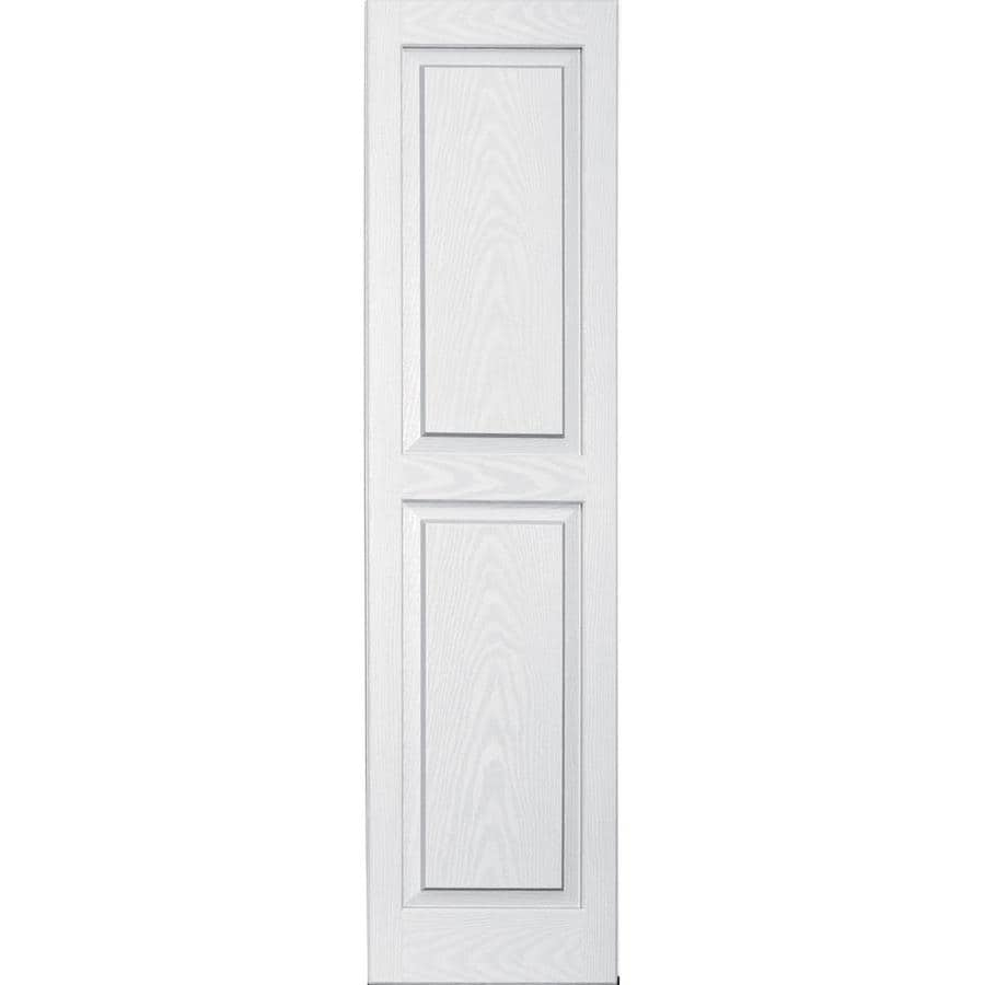 Vantage 2-Pack White Raised Panel Vinyl Exterior Shutters (Common: 14-in x 55-in; Actual: 13.875-in x 54.5625-in)