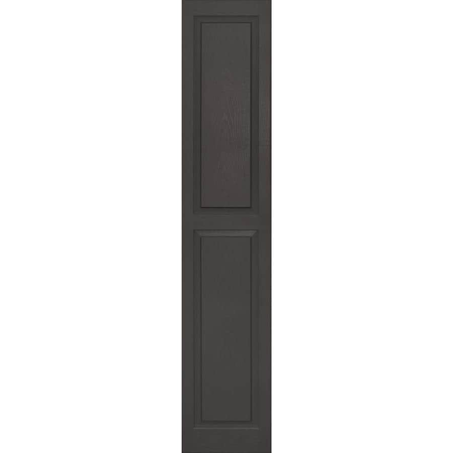 Vantage 2-Pack Charcoal Grey Raised Panel Vinyl Exterior Shutters (Common: 14-in x 75-in; Actual: 13.875-in x 74.5625-in)