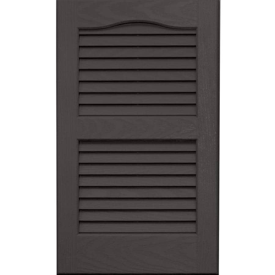Vantage 2-Pack Charcoal Grey Louvered Vinyl Exterior Shutters (Common: 14-in x 24-in; Actual: 13.875-in x 23.6875-in)