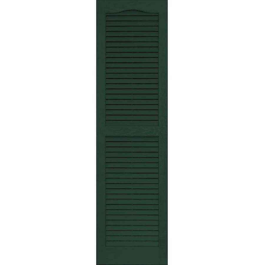 Shop Vantage 2 Pack Midnight Green Louvered Vinyl Exterior Shutters Common