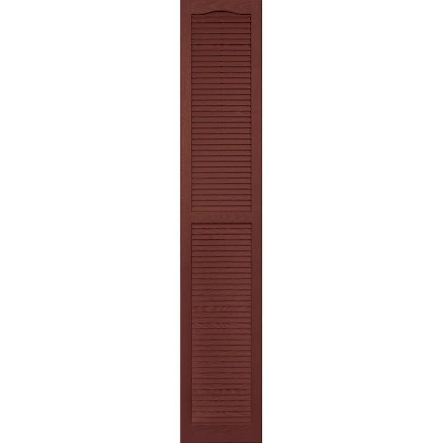 Vantage 2-Pack Cambridge Red Louvered Vinyl Exterior Shutters (Common: 14-in x 80-in; Actual: 13.875-in x 79.625-in)