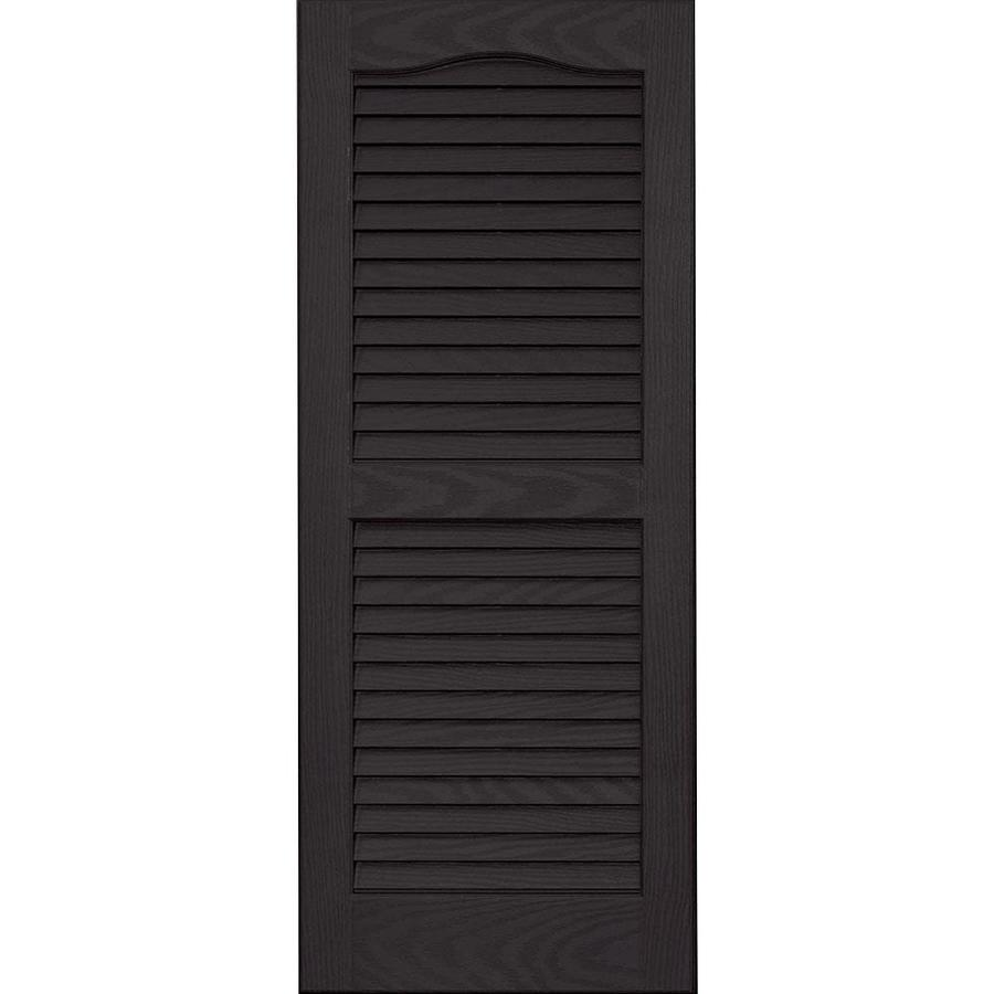 Vantage 2-Pack Black Louvered Vinyl Exterior Shutters (Common: 14-in x 27-in; Actual: 13.875-in x 26.6875-in)
