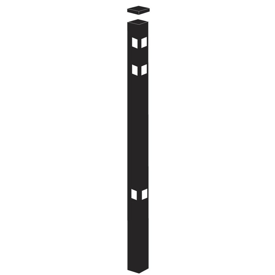 Freedom Standard Black Aluminum Aluminum Fence Corner Post (Common: 2-in x 2-in x 6-ft; Actual: 2-in x 2-in x 5.83-ft)