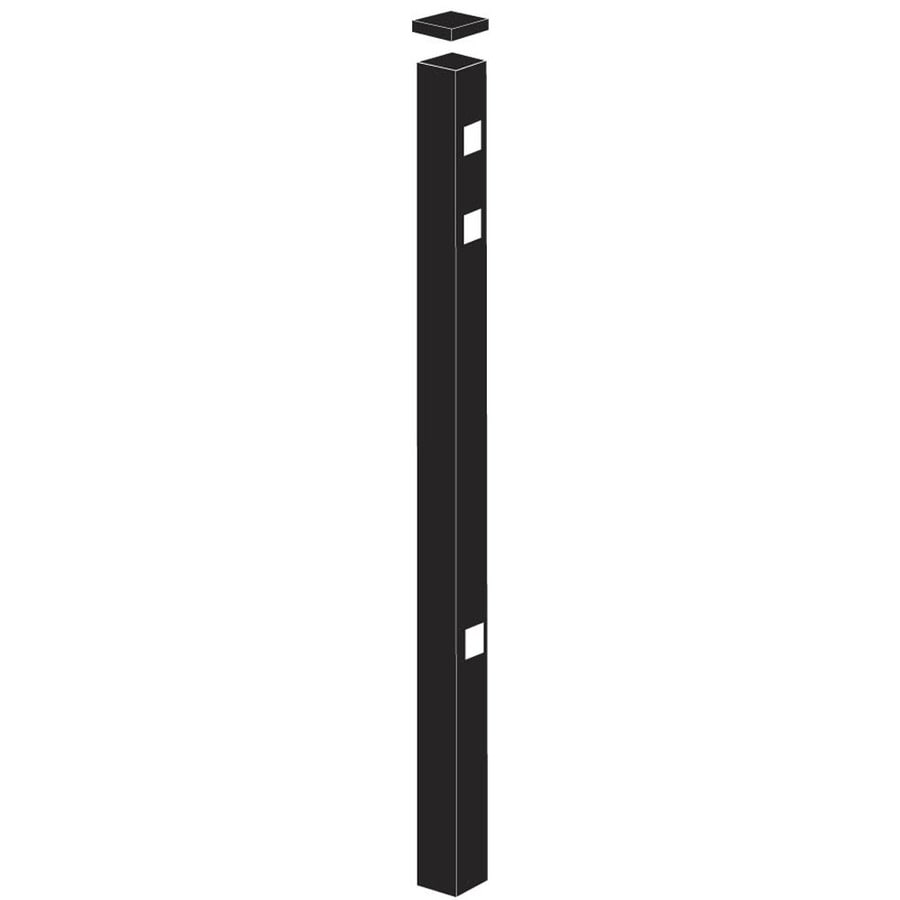 Freedom Standard Black Aluminum Aluminum Fence Gate Post (Common: 2-in x 2-in x 6-ft; Actual: 2-in x 2-in x 5.83-ft)