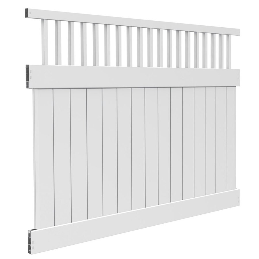 Freedom Ready-To-Assemble Bristol White Vinyl Semi-Privacy Fence Panel (Common: 8-ft x 6-ft; Actual: 7.56-ft x 6-ft)