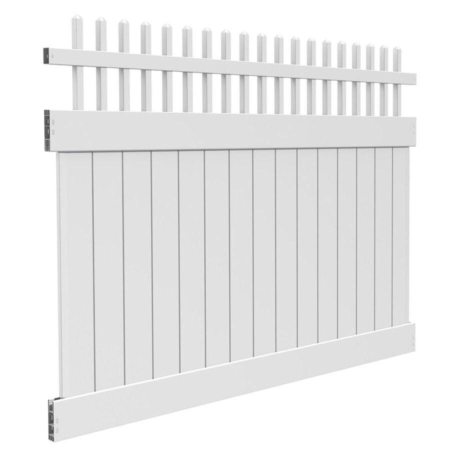 Freedom Ready-To-Assemble Canterbury White Vinyl Semi-Privacy Fence Panel (Common: 8-ft x 6-ft; Actual: 7.56-ft x 6-ft)