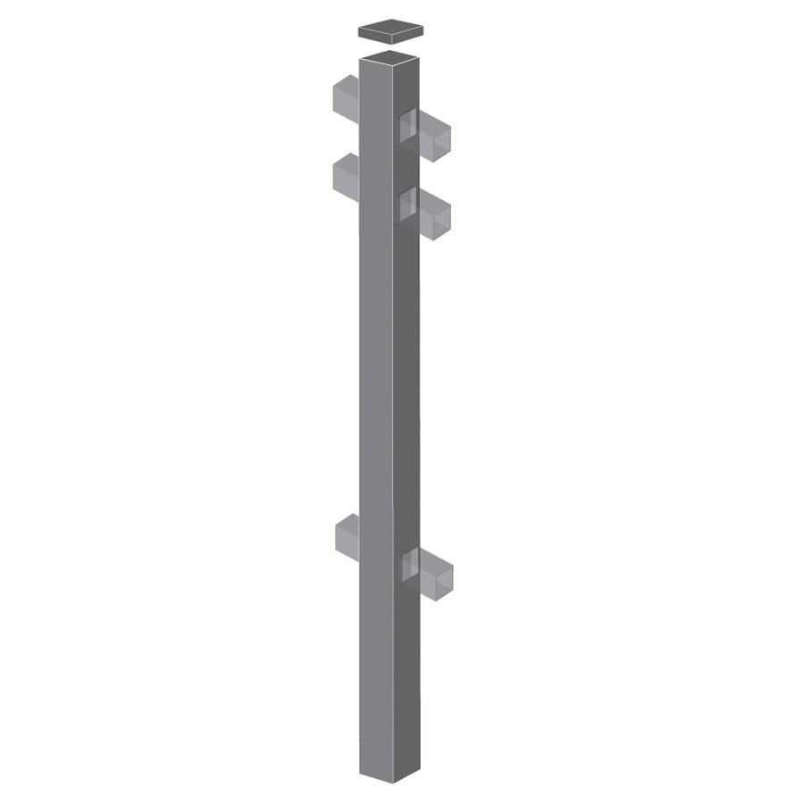 Freedom Standard Pewter Aluminum Aluminum Fence Line Post (Common: 2-in x 2-in x 7-ft; Actual: 2-in x 2-in x 6.83-ft)