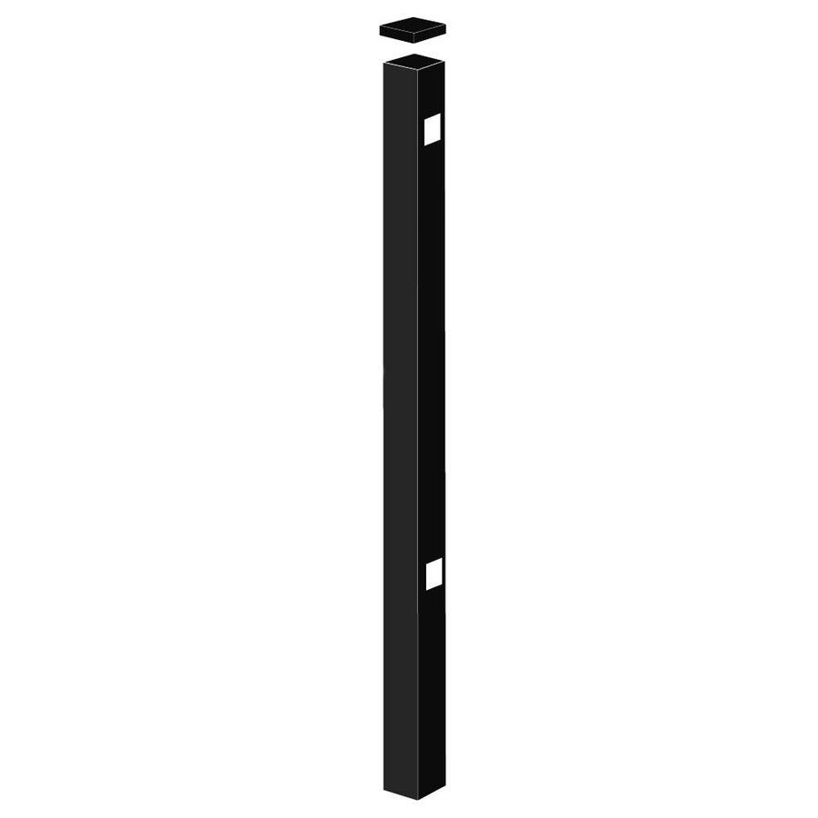 Freedom Standard Black Aluminum Aluminum Fence End Post (Common: 2-in x 2-in x 5-ft; Actual: 2-in x 2-in x 4.83-ft)