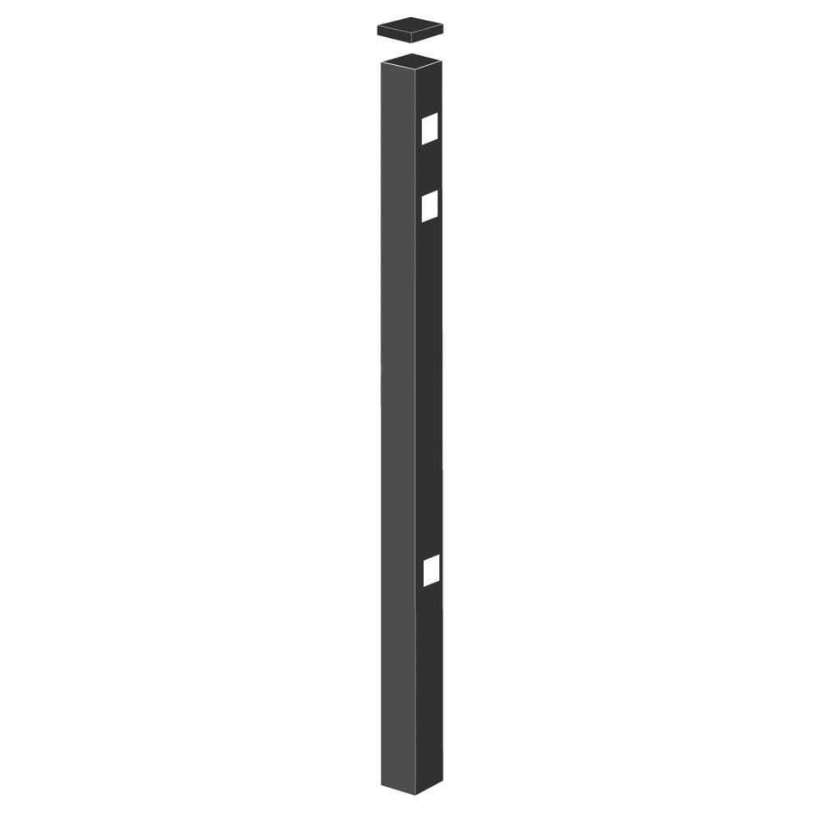 Freedom Standard Black Aluminum Aluminum Fence Gate Post (Common: 2-in x 2-in x 5-ft; Actual: 2-in x 2-in x 4.83-ft)