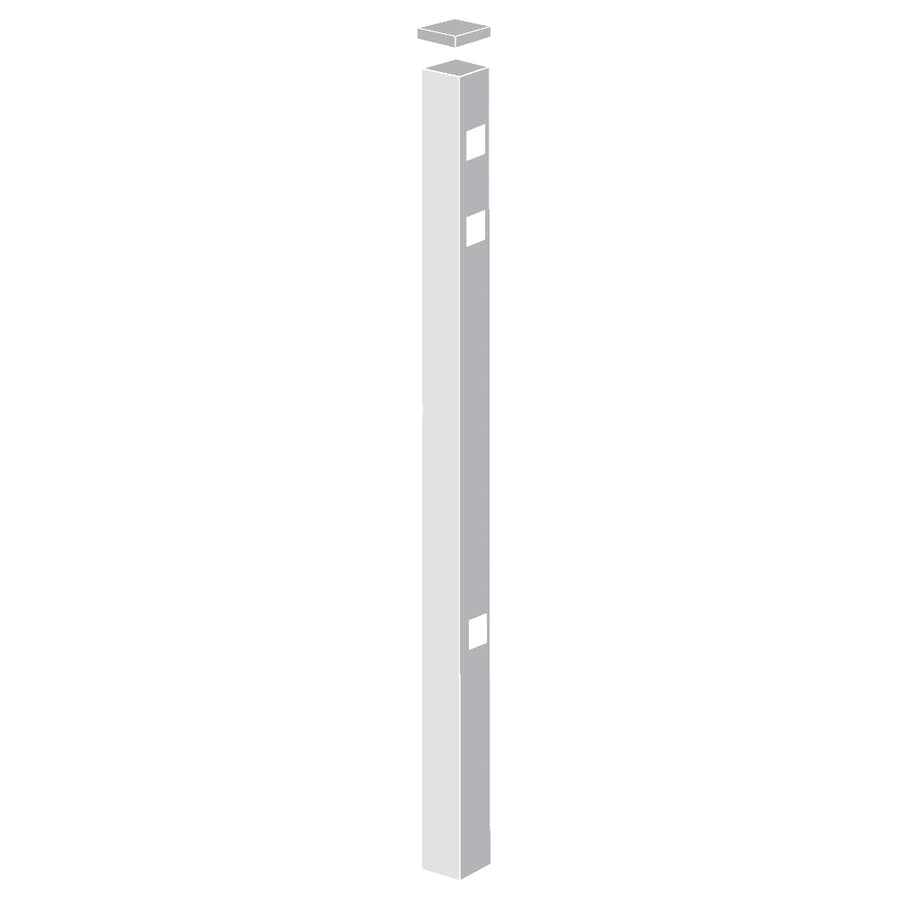 Freedom Standard White Aluminum Decorative Metal Fence Gate Post (Common: 2-in x 2-in x 7-ft; Actual: 2-in x 2-in x 6.83-ft)