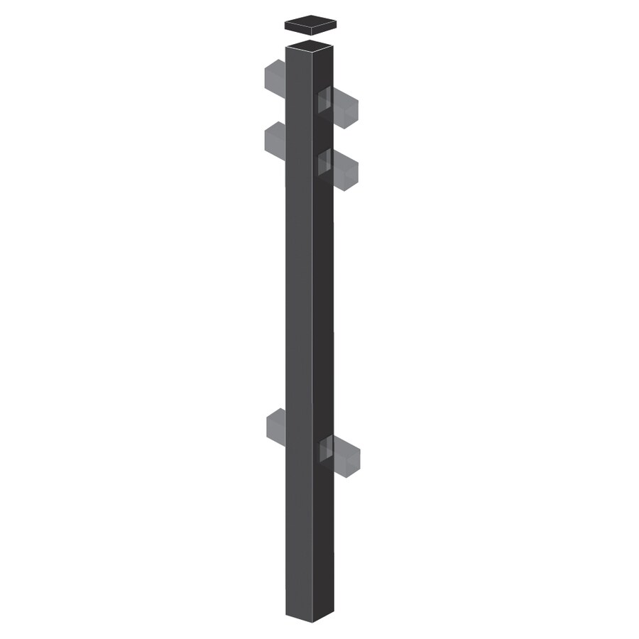 Freedom Heavy-Duty Black Aluminum Decorative Metal Fence Line Post (Common: 2-1/2-in x 2-1/2-in x 7-ft; Actual: 2.5-in x 2.5-in x 6.83-ft)
