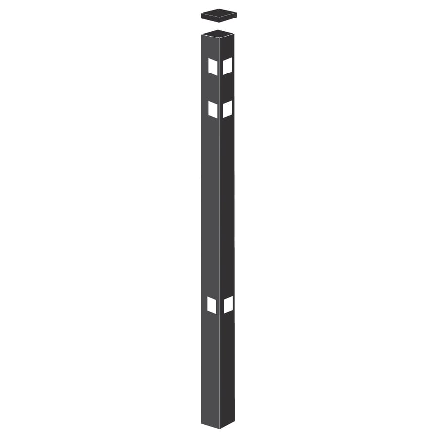 Freedom Heavy-Duty Black Aluminum Decorative Metal Fence Corner Post (Common: 2-1/2-in x 2-1/2-in x 7-ft; Actual: 2.5-in x 2.5-in x 6.83-ft)