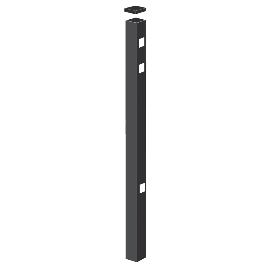 Freedom Heavy-Duty Black Aluminum Decorative Metal Fence End Post (Common: 2-1/2-in x 2-1/2-in x 7-ft; Actual: 2.5-in x 2.5-in x 6.83-ft)