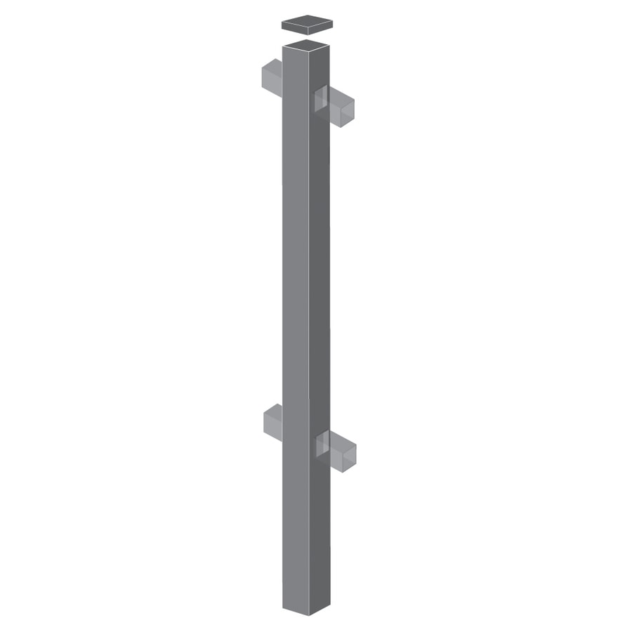 Freedom Heavy-Duty Pewter Aluminum Decorative Metal Fence Line Post (Common: 2-1/2-in x 2-1/2-in x 6-ft; Actual: 2.5-in x 2.5-in x 5.83-ft)