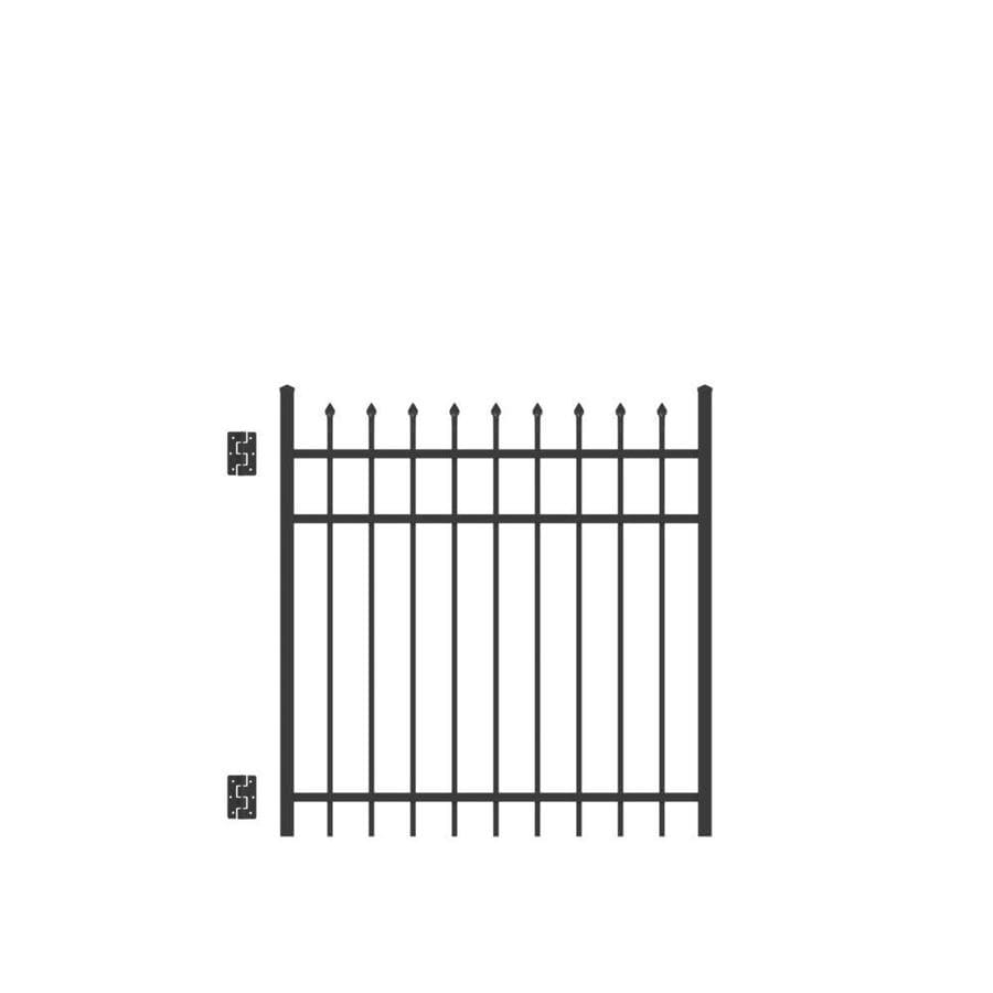 Freedom Providence Black Aluminum Decorative Fence Gate (Common: 4-ft x 4-ft; Actual: 3.875-ft x 4.02-ft)