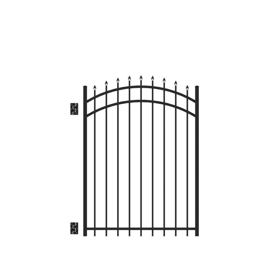 Freedom Providence Black Aluminum Decorative Fence Gate (Common: 4-ft x 5-ft; Actual: 3.875-ft x 5.02-ft)
