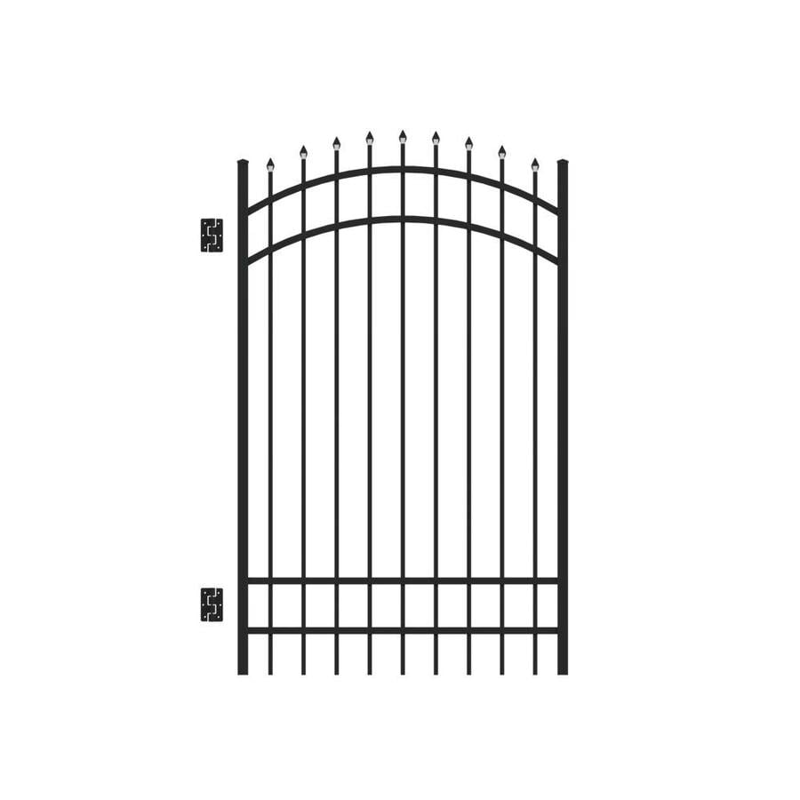 Freedom Providence Black Aluminum Decorative Fence Gate (Common: 4-ft x 6-ft; Actual: 3.875-ft x 6.02-ft)