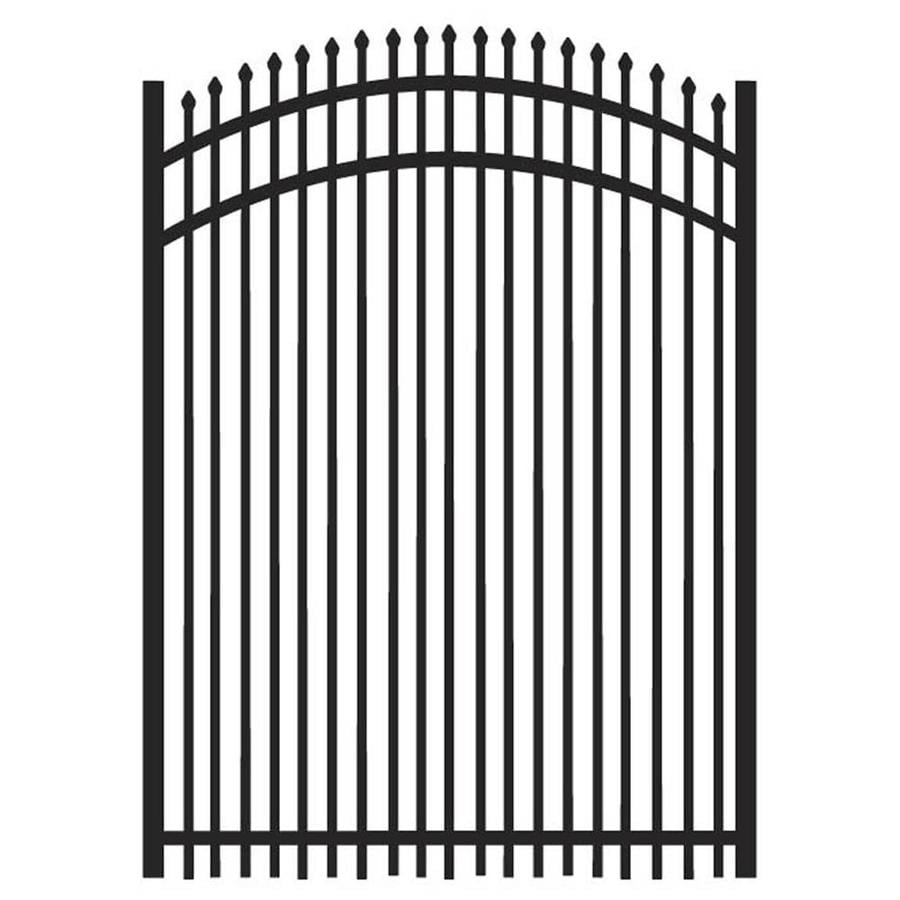 Freedom Oxford Black Aluminum Decorative Fence Gate (Common: 4-ft x 5-ft; Actual: 3.875-ft x 5.02-ft)