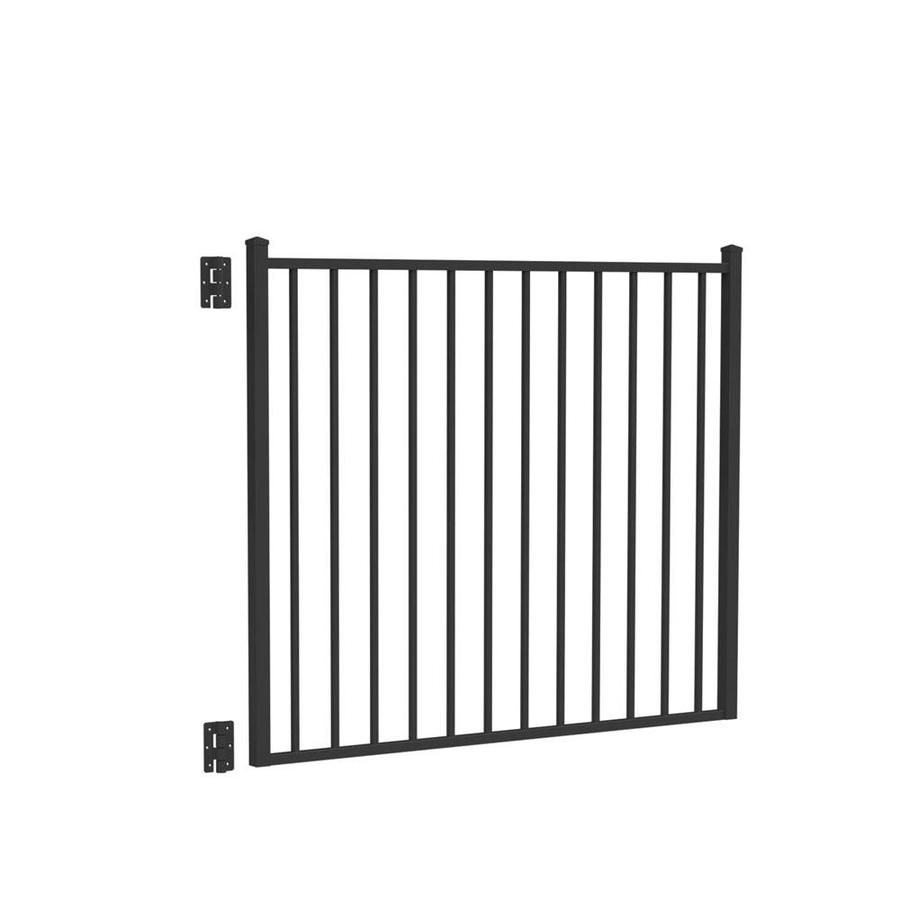Freedom Easton Black Aluminum Decorative Fence Gate (Common: 5-ft x 4-ft; Actual: 4.875-ft x 4.125-ft)