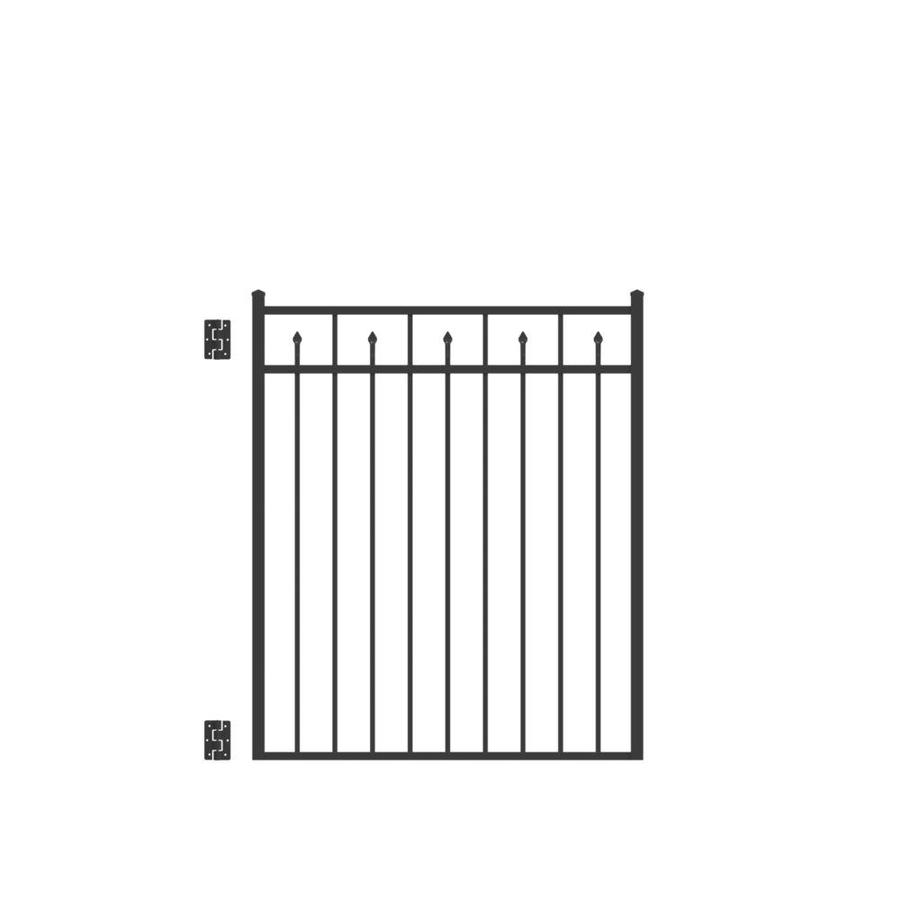 Freedom Concord Black Aluminum Decorative Fence Gate (Common: 4-ft x 4.5-ft; Actual: 3.875-ft x 4.625-ft)
