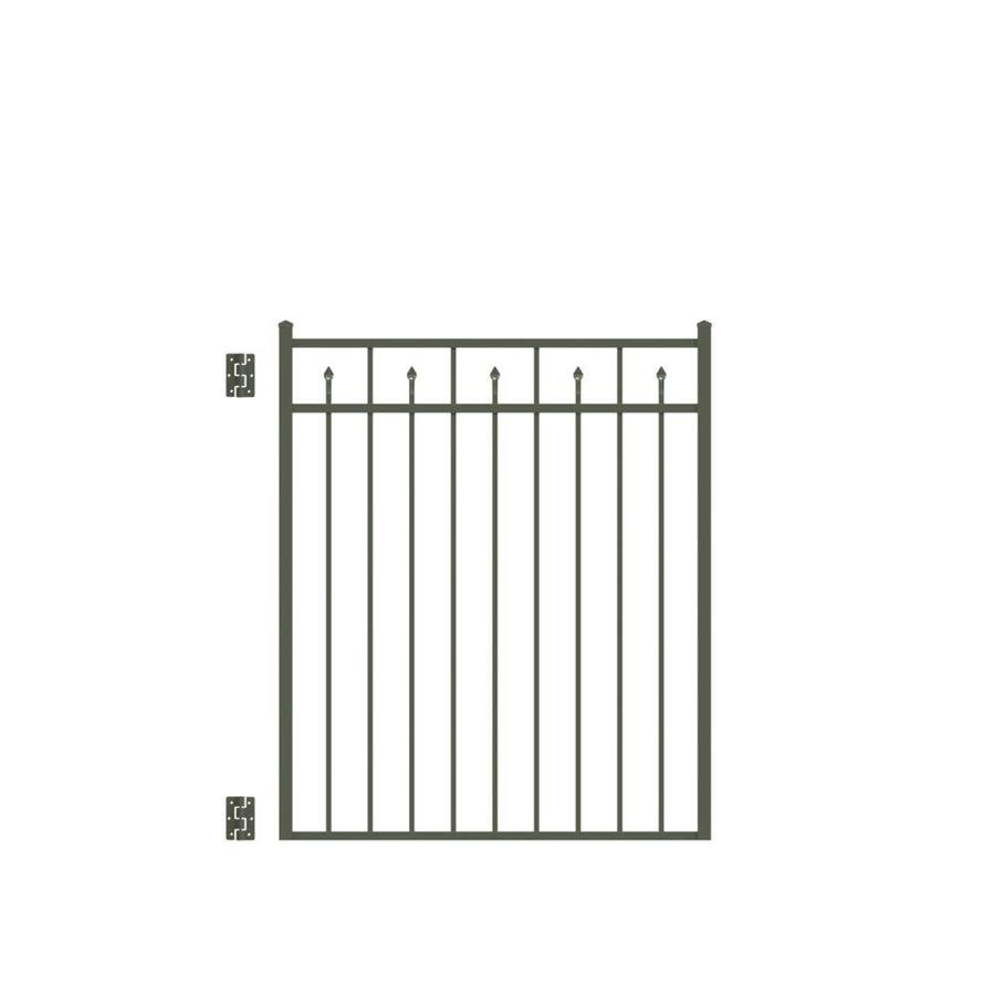 Freedom Concord Pewter Aluminum Decorative Fence Gate (Common: 4-ft x 4.5-ft; Actual: 3.875-ft x 4.625-ft)