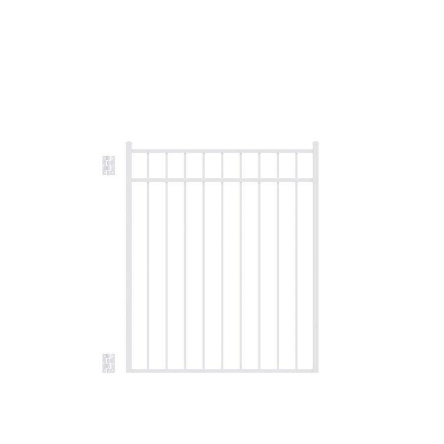 Freedom New Haven White Aluminum Decorative Fence Gate (Common: 4-ft x 4.5-ft; Actual: 3.875-ft x 4.625-ft)