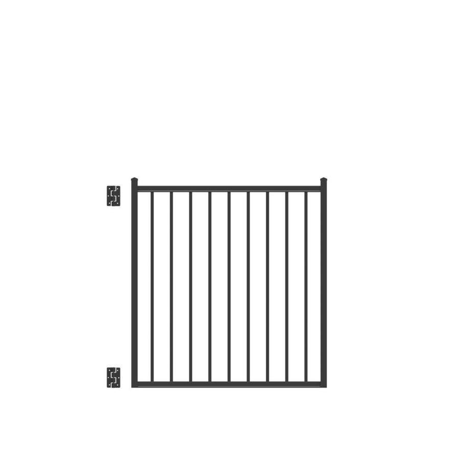 Freedom Easton Black Aluminum Decorative Fence Gate (Common: 4-ft x 4-ft; Actual: 3.875-ft x 4.16-ft)