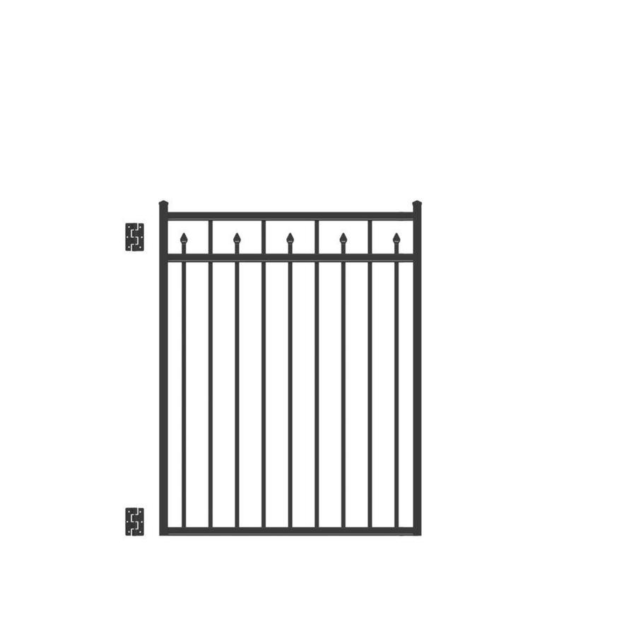 Freedom Concord Black Aluminum Decorative Fence Gate (Common: 4-ft x 4.5-ft; Actual: 3.875-ft x 4.66-ft)