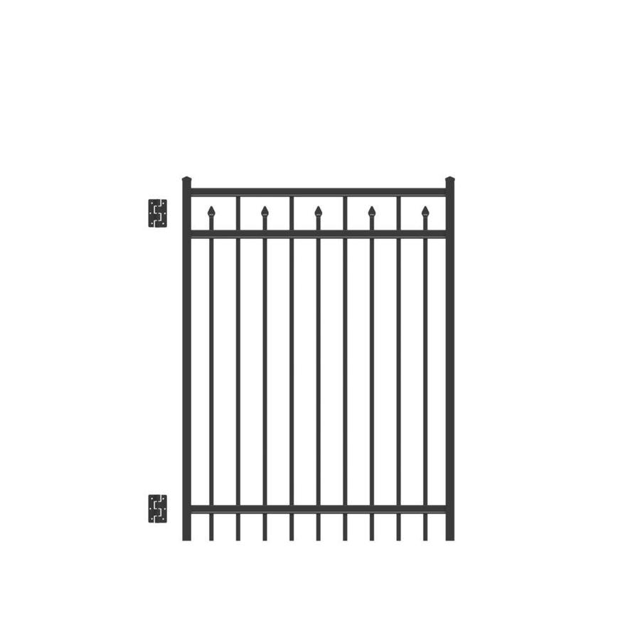 Freedom Concord Black Aluminum Decorative Fence Gate (Common: 4-ft x 5-ft; Actual: 3.875-ft x 5.04-ft)