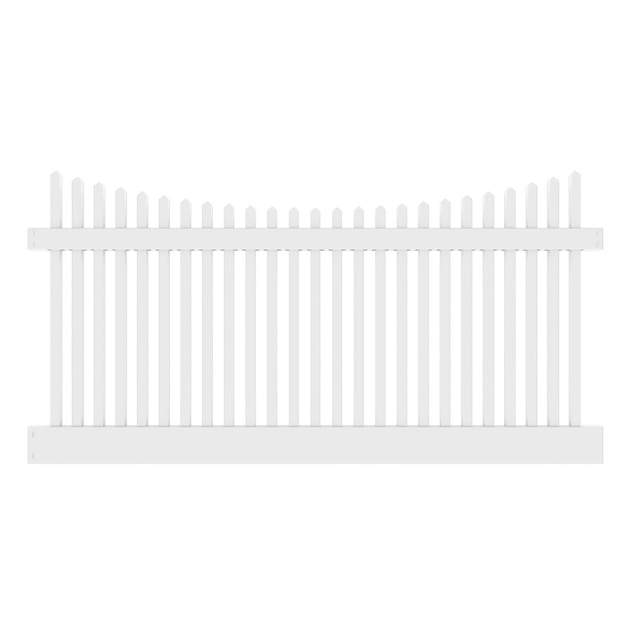 Freedom Ready-To-Assemble Keswick Scallop White Vinyl Fence Panel (Common: 8-ft x 4-ft; Actual: 7.56-ft x 4-ft)