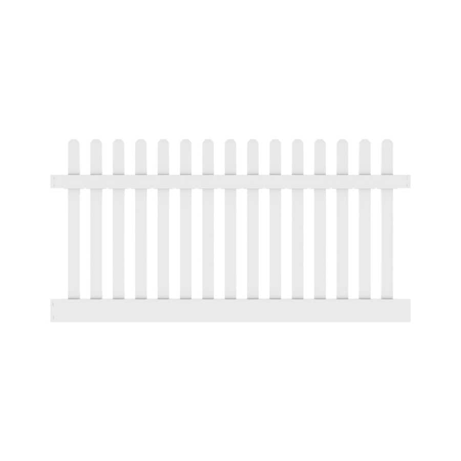 Freedom Ready-To-Assemble Lennox Straight White Vinyl Fence Panel (Common: 8-ft x 4-ft; Actual: 7.56-ft x 4-ft)