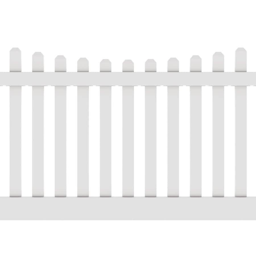 Freedom Ready-To-Assemble Lennox Scallop White Vinyl Fence Panel (Common: 8-ft x 4-ft; Actual: 7.56-ft x 4-ft)