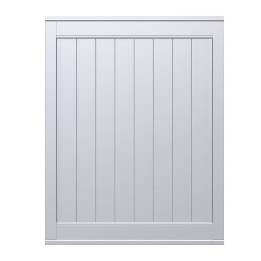 Gatehouse Emblem White Vinyl Privacy Fence Gate (Common: 5-ft x 6-ft; Actual: 4.83-ft x 6-ft)