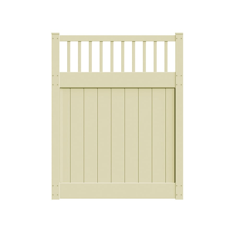 Freedom Bristol Sand Vinyl Semi-Privacy Fence Gate (Common: 5-ft x 6-ft; Actual: 4.83-ft x 6-ft)